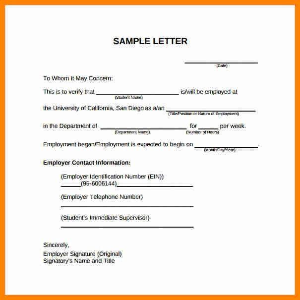 8+ employment verification letter example | job resumed
