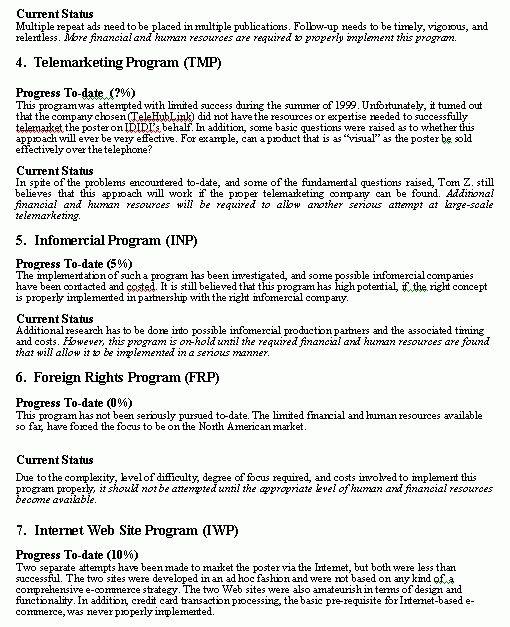 Progress Report format... sample format for a typical progress report.