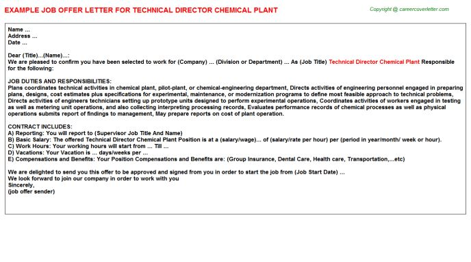 Theatre Technical Director Offer Letters