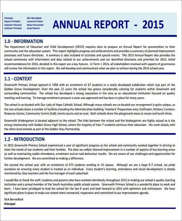 11+ Sample School Report - Free Sample, Example, Format Download