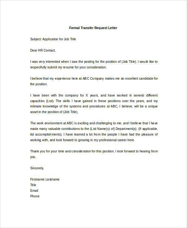 Transfer Request Letter. Requisition Letter Sample Format » 5+ ...
