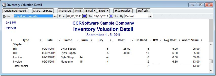 QuickBooks 2012 FIFO Inventory - Accountex Report