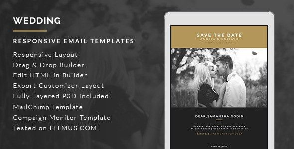 Wedding Invitation Card Email Template + Builder Access by theemon