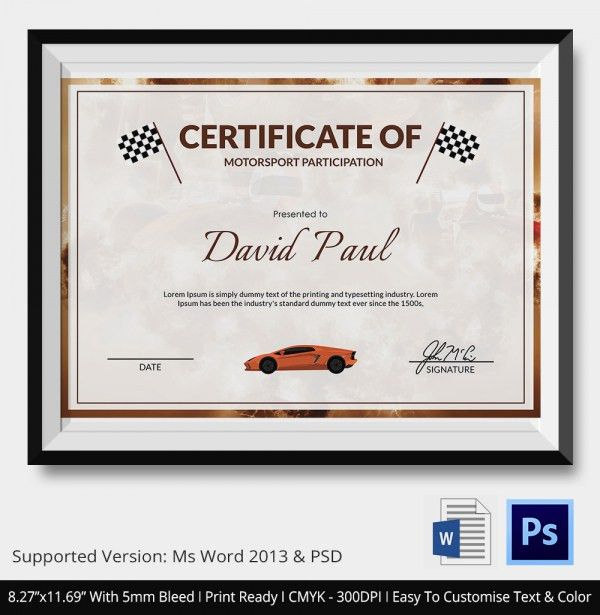 Motorsport Certificate - 5+ Word, PSD Format Download   Free ...