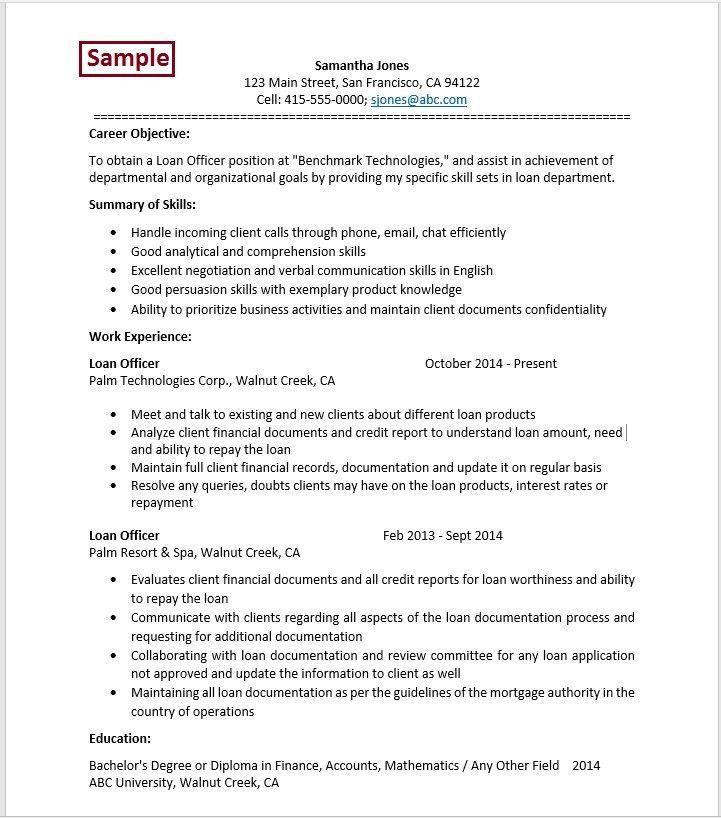 Sample Resume For Loan Officer Position. top 8 bank loan officer ...