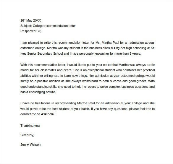Personal Recommendation Letter For A Friend College - Compudocs.us