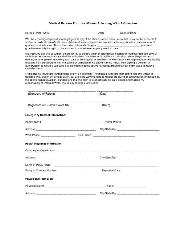 Medical Waiver Form. Medical Waiver Form Pdf Downloadable Medical ...