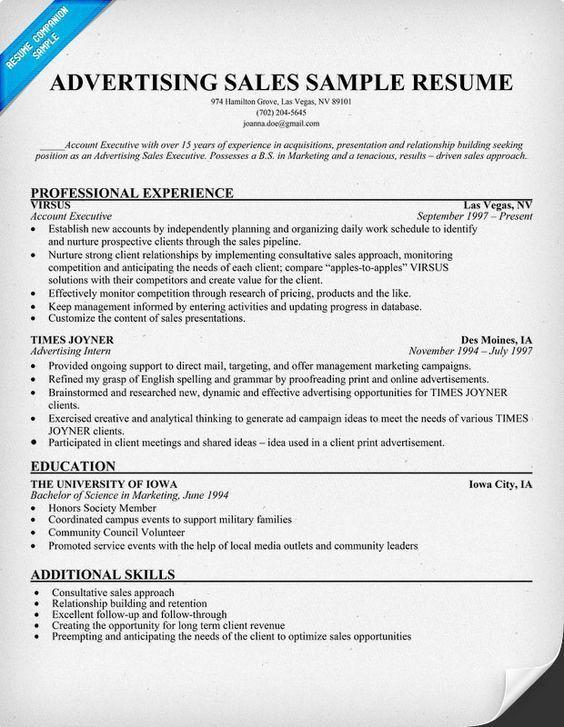 Advertising Sales Resume Sample (resumecompanion.com) | Resume ...