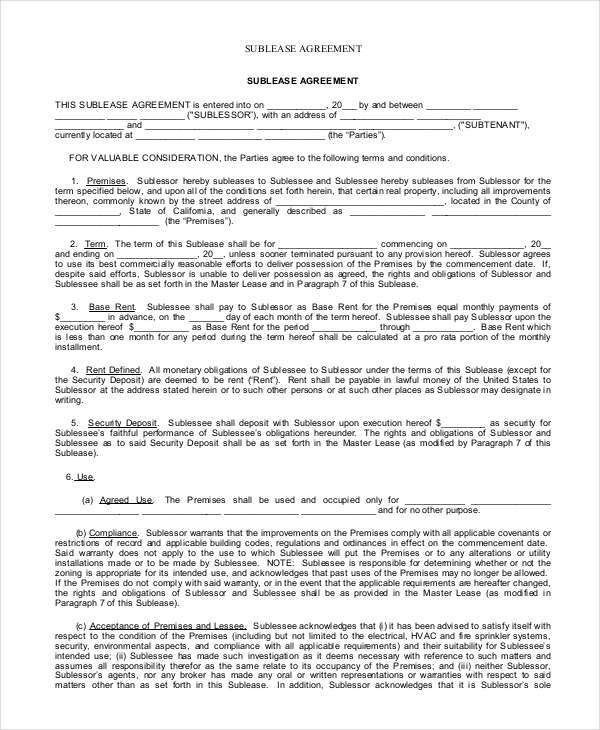 Sublease Contract - 7+ Free Word, PDF Documents Download | Free ...