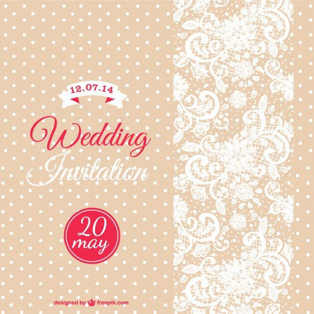 Wedding invitation with white dots and flowers Vector | Free Download