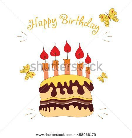 Happy Birthday Background Honey Cake Balloons Stock Vector ...