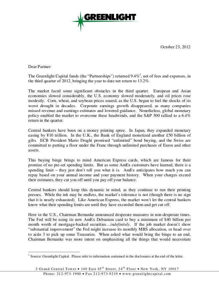 David einhorn greenlight capital investor letter