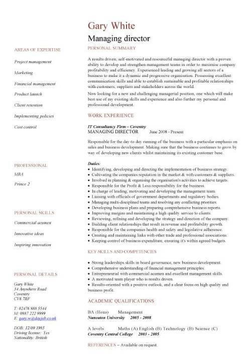 sample resume it manager
