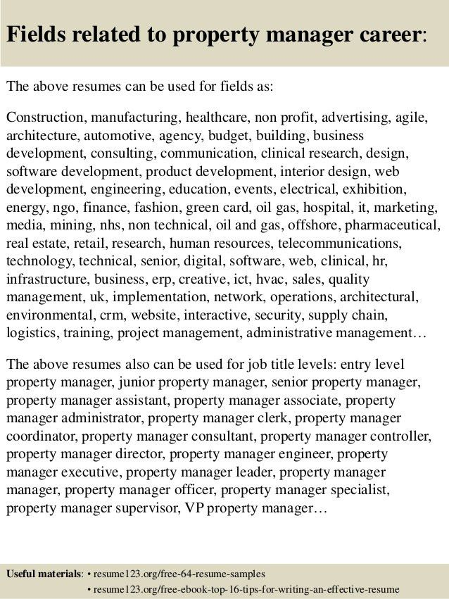 property manager resume to inspire you how to create a good resume ...