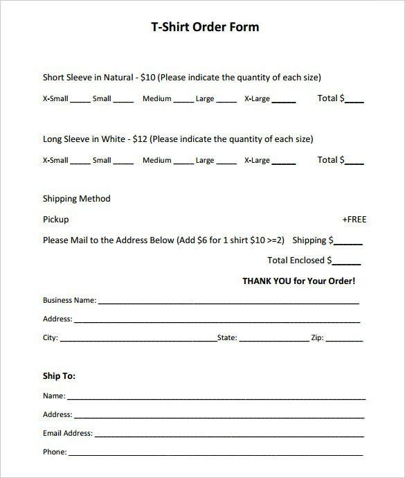 T-Shirt Order Form Template Free | Best Template Examples