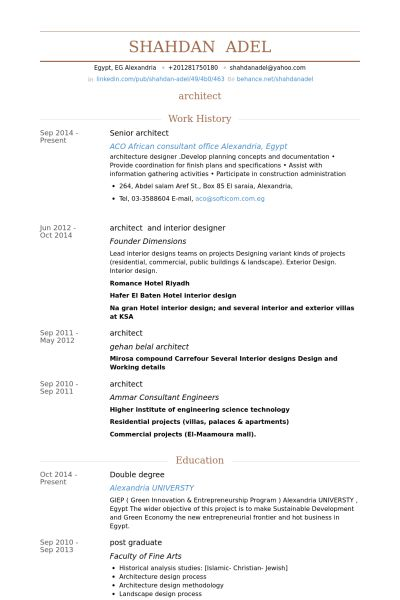 Senior Architect Resume samples - VisualCV resume samples database