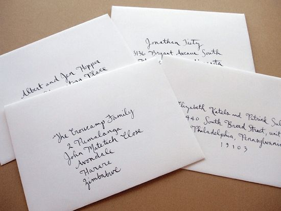Addressing Wedding Invitations Without Inner Envelope #4924