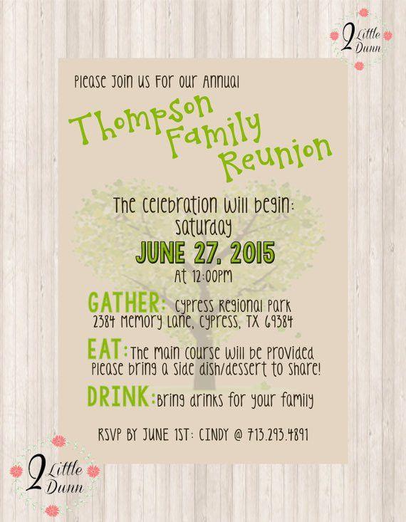Family Reunion Invite PRINTABLE DIGITAL INVITATION by 2LittleDunn ...