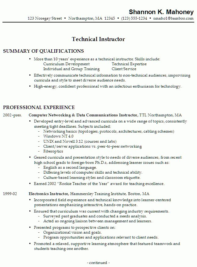 Resume Sample for a Technical Instructor - Susan Ireland Resumes