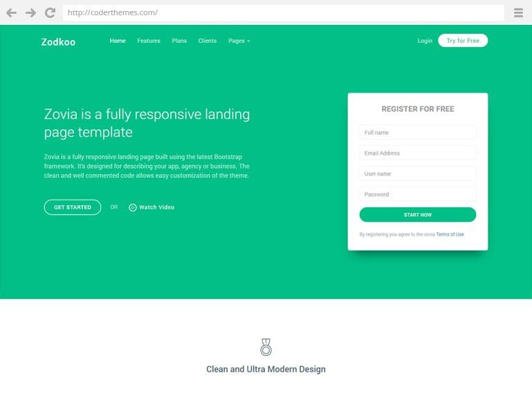 Zodkoo - Landing Page Template - Live Preview - WrapBootstrap