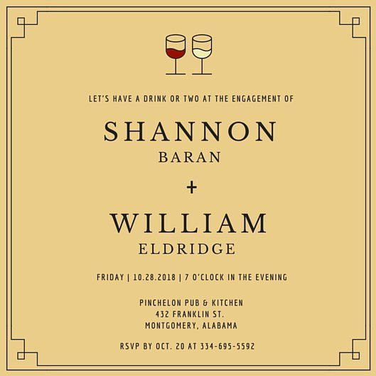 Wine Glass Engagement Party Invitation - Templates by Canva