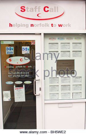 Job adverts in an employment agency window, Bristol, UK Stock ...