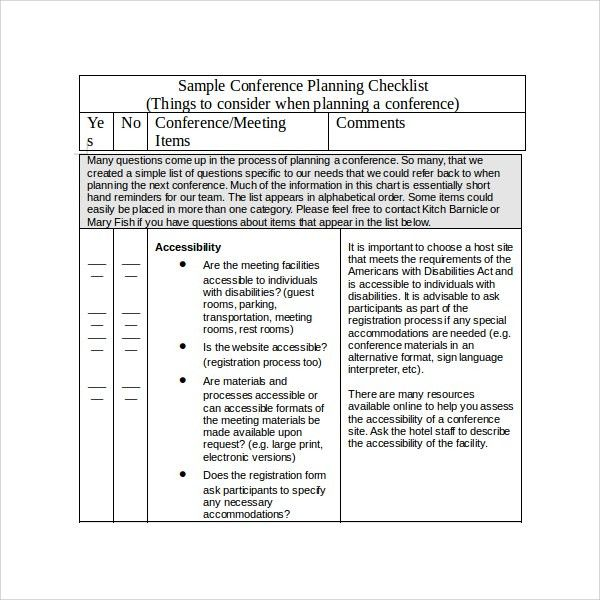 Sample Conference Planning Template - 9+ Free Documents in PDF, Word