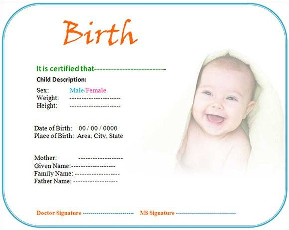 Pictures of blank birth certificates birth certificate template 7 birth certificate templates free examples samples format yadclub Image collections