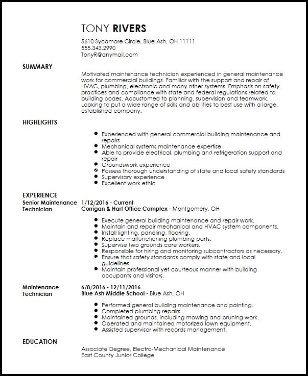Free Traditional Maintenance Technician Resume Template | ResumeNow