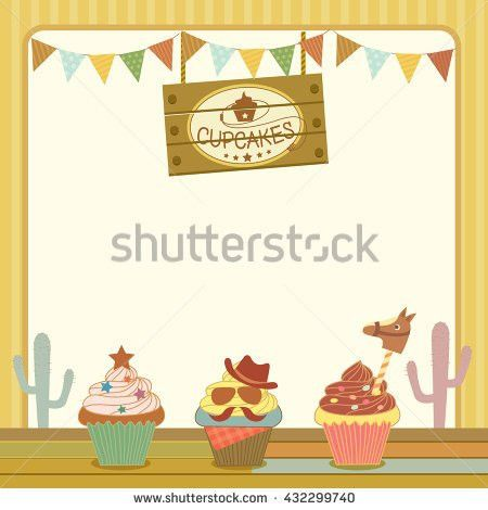 Illustration Vector Dessert Menu Template Cupcakes Stock Vector ...