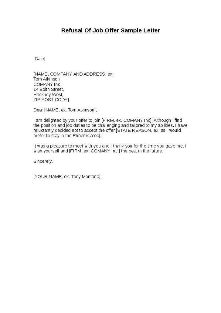 Counter fer Letter Template] Counter Job fer Letter Template