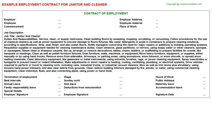 Janitor And Cleaner Employment Contract