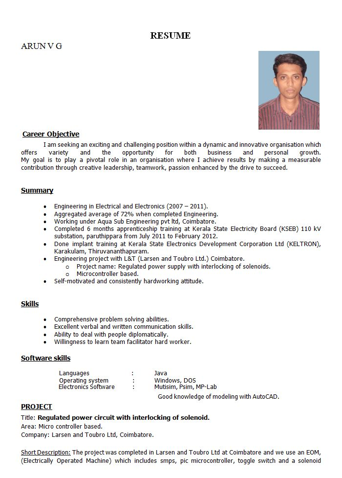 format of resume for job application to download data sample ...