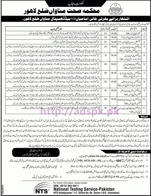 New Careers Jobs Health Department Manawan District Lahore Jobs ...