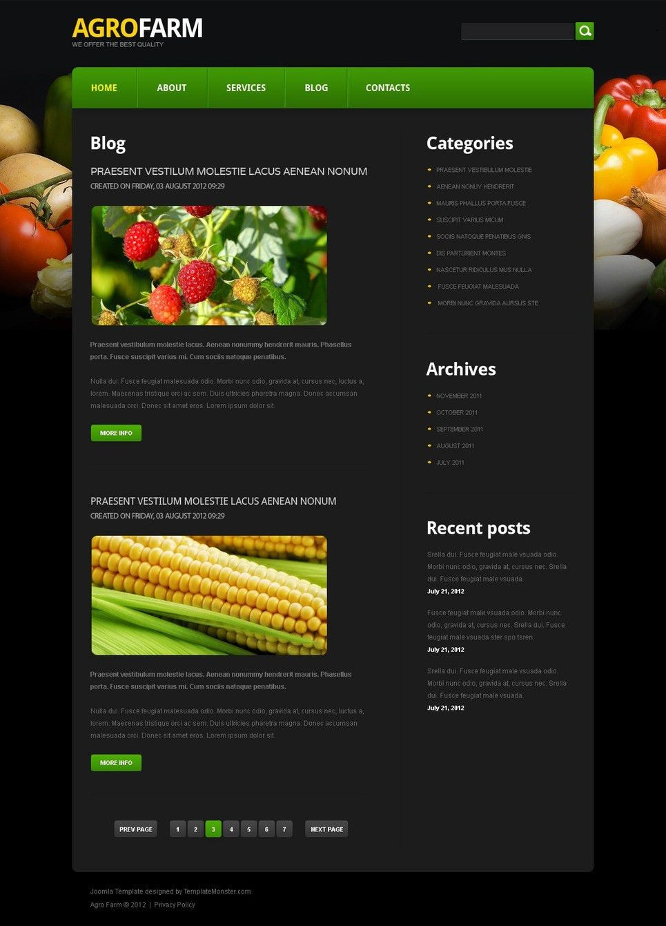 Free Joomla Agriculture Template