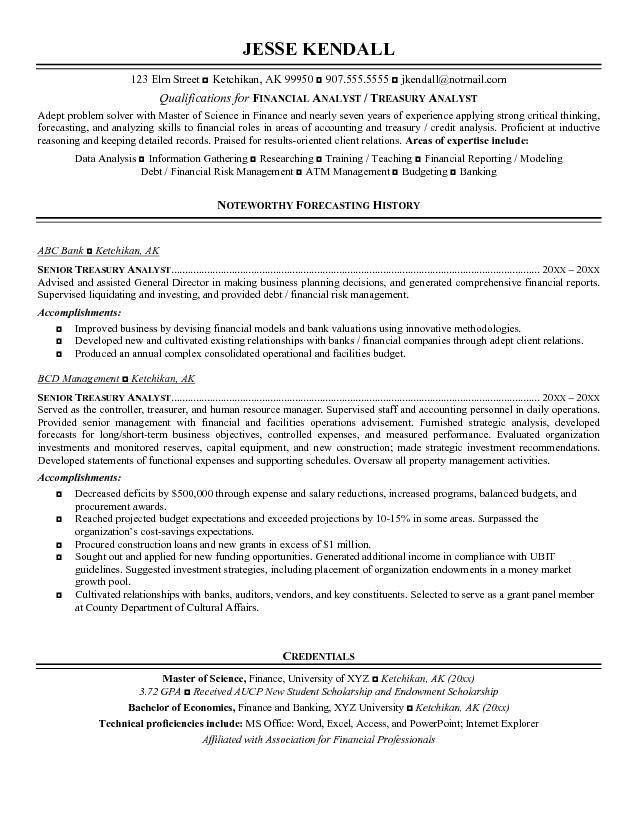 Free Treasury Analyst Resume Example