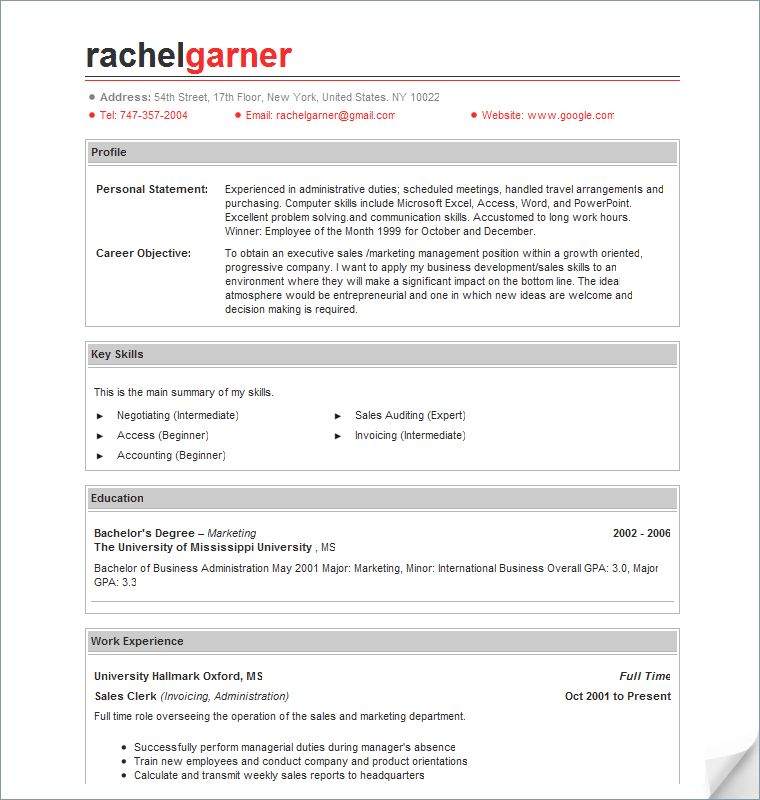 profile example for resume resume format download pdf. more free ...
