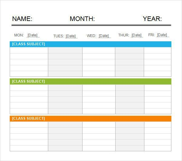 Weekend Scheduled Template. 7 Day Blank Calendar Template ...