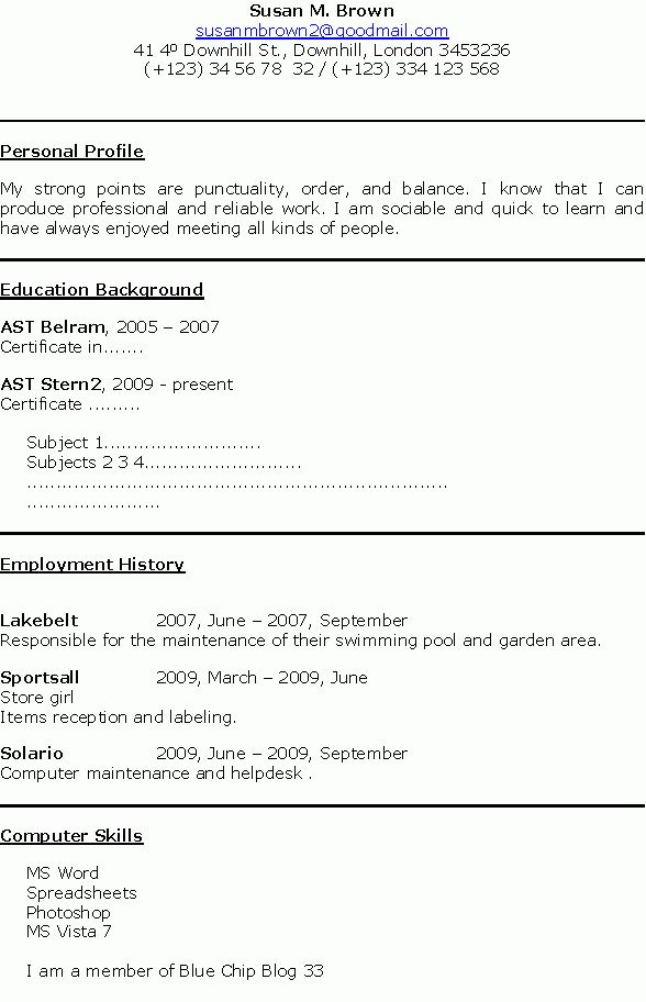 7+ examples of cv for job applications - Basic Job Appication Letter