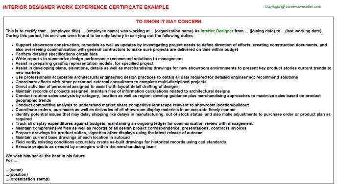 Interior Designer Work Experience Certificate