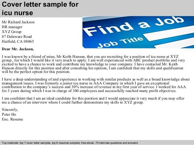 icu nurse cover letters
