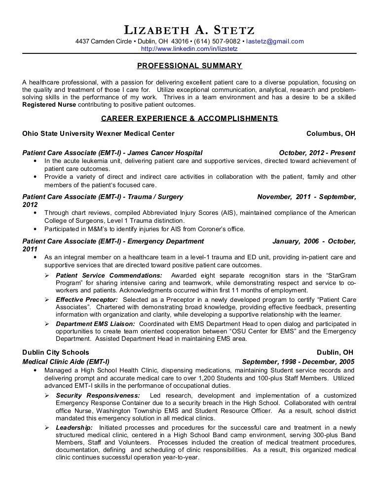 Liz stetz nursing resume