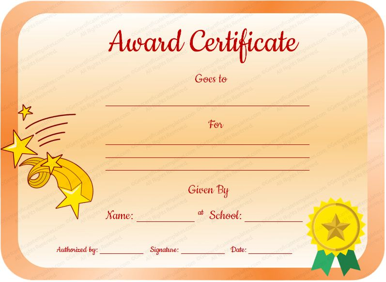 Core Value Award Certificate Template for Students