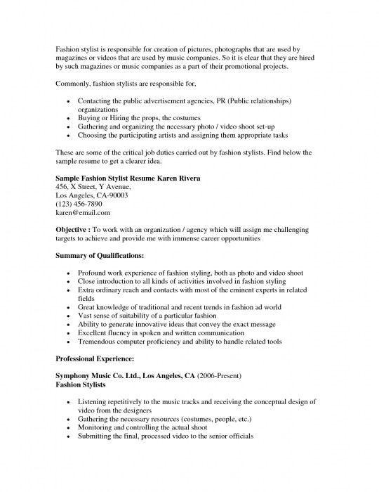 The Amazing Fashion Stylist Resume Sample | Resume Format Web