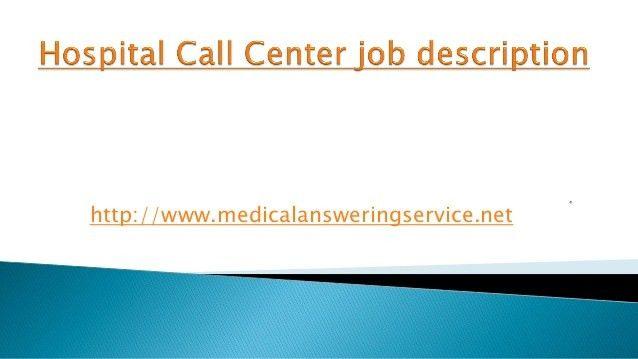 Hospital call center job description