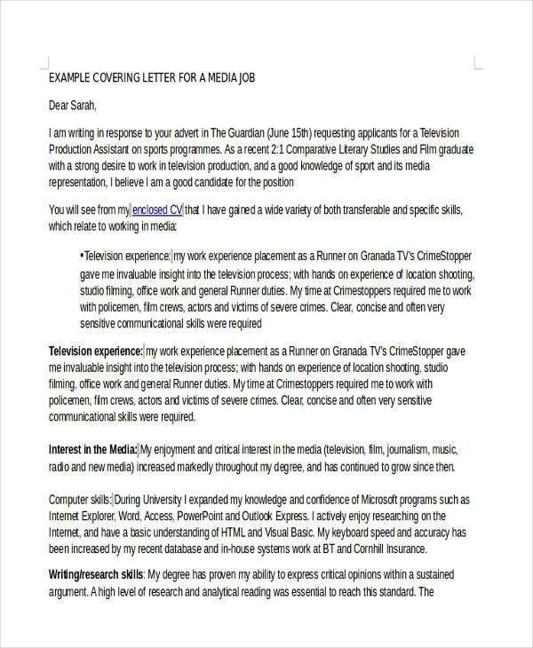 10+ Job Cover Letters - Free Sample, Example Format Download ...