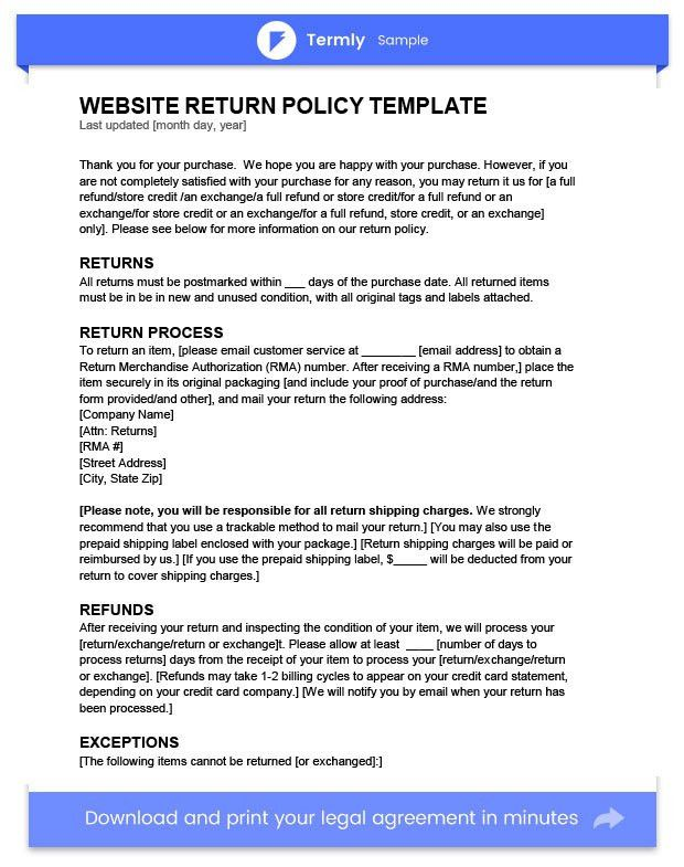 Return Policy Template & Examples | FREE to Download | Termly