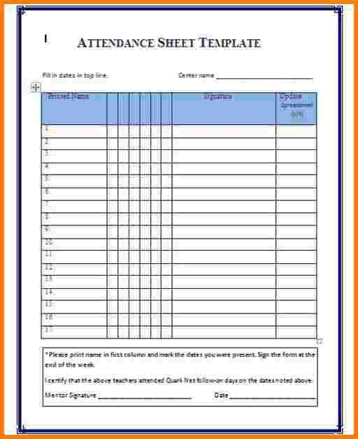 5 attendance template | Receipt Templates
