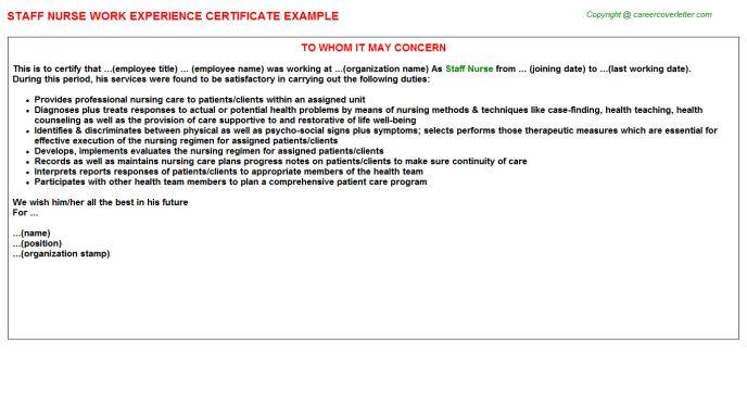 Staff Nurse Work Experience Certificate