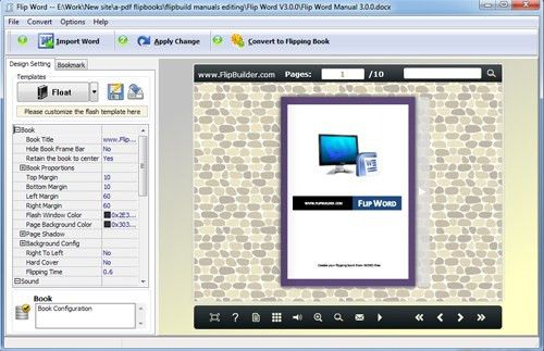 Flip Word Manual template settings[FlipBuilder.com]